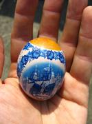 nice easter egg in the hand - stock photo