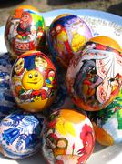 nice easter eggs with images - stock photo