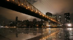 New york time lapse bridge cityscape skyline areal view 1080 HD Stock Footage