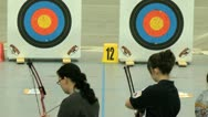 Stock Video Footage of Two young women and archery