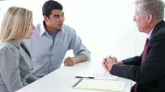 Young Interracial Couple Sign Contract with Salesman Shake Hands Stock Footage