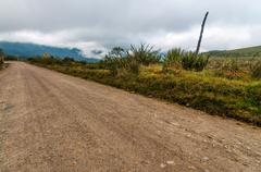 Dirt Road and Clouds Stock Photos