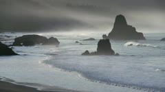 Misty Morning - Oregon Sea Stacks - Port Orford Stock Footage