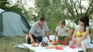 Stock Video Footage of Young family camping