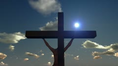 Jesus on Cross, close up, timelapse sunset, godrays Stock Footage