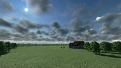 House on green meadow and horses, timelapse clouds, tilt Stock Footage