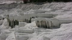 White Limestone deposits on the cliffs of Pamukkale Stock Footage