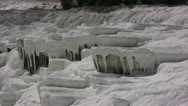 Stock Video Footage of White Limestone deposits on the cliffs of Pamukkale