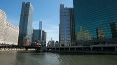 Chicago River and skyscrapers Stock Footage