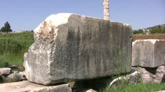 Stone ruins at Temple of Artemis - stock footage