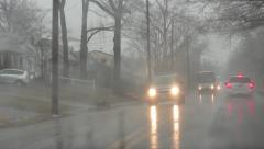 Winter Weather Precipitation Driving on Suburban Road Stock Video Stock Footage