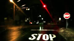 Flashing Lights at Intersection With Stop Sign Stock Video Stock Footage