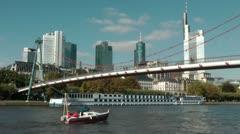 Frankfurt Bridge and Cityscape Stock Footage