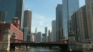 Stock Video Footage of Chicago River and skyscrapers