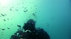 Diver and bubbles - stock footage