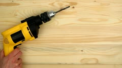 Drill on wood Stock Footage