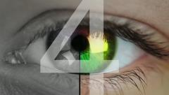 Eye close-up and countdown Stock Footage