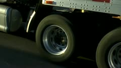 Eighteen Wheeler Truck Tires Close Up Stock Footage