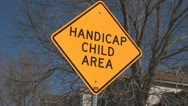 Stock Video Footage of 130315e handicap child area sign with trees left to right trucking