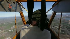 Pilot in small plane Stock Footage