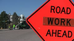 130315f road work sign with work in background Stock Footage