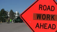 Stock Video Footage of 130315f road work sign with work in background