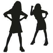 silhouettes of teen - stock illustration