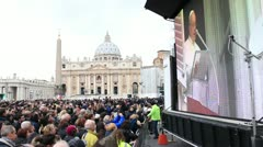 Pope Francis delivers first Angelus blessing to huge crowds Stock Footage