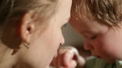 Mom and her son kissing. Lovely close ups. Stock Footage