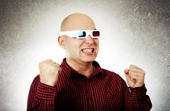 Man with 3d anaglyph glasses Stock Photos