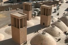 Iran. Roofs in Yazd, wind towers, ancient ventilation system Stock Footage