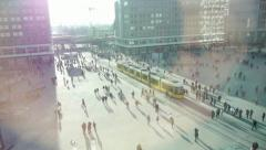 Stock Video Footage of people on crowded street public place cityscape transportation