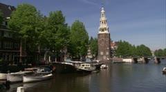 Monelbaanstoren,Oude Waal,Amsterdam Stock Footage