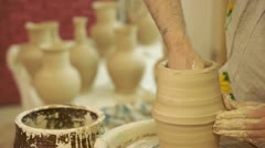 Potter works. Crockery creation process in pottery on potters' wheel Stock Footage