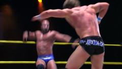 Sports: Pro Wrestling Match - Sequence: Clotheslines & High Back Drop Stock Footage