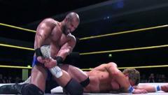Sports: Pro Wrestling Match - WWE Star Davairi Leg Lock Submission Hold Stock Footage
