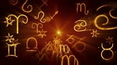 Shining zodiac symbols loop background Stock Footage