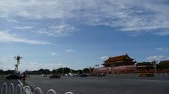 Beijing Tiananmen Square sunny cloud scene,Bustling Street,traffic.timelapse. Stock Footage