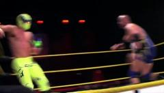 Sports: Pro Wrestling Match - Hard Elbow to Face - stock footage