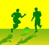 Two Muscular Men Playing Soccer Stock Illustration
