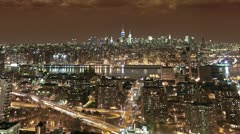 Manhattan Timelapse Brooklyn NYC Night Empire State Building Skyline River Stock Footage