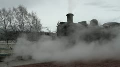 Steam Train at Aviemore Railway station Scotland Stock Footage