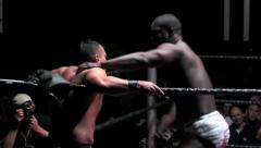 Sports: Pro Wrestling Match - Strikes, Snapmare, Stomp Stock Footage