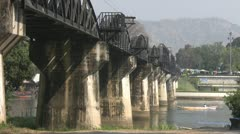 Tourist Boat Under The River Kwai Bridge p75 Stock Footage