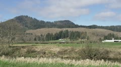 Farmhouse and Cattle Below Clearcut Slope - wide Stock Footage
