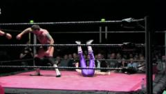 Sports: Pro Wrestling Match - Running Boot to Face - stock footage
