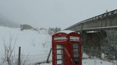 Cairngorm Mountain railway and red phone box Scotland Stock Footage