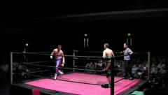 Sports: Pro Wrestling Match - Bell Rings, Match Starts - Static Shot - stock footage