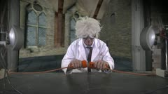 Crazy Scientist Experiment Makes A Leprechaun Appear Stock Footage