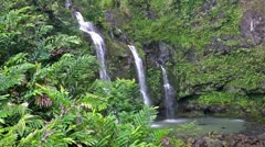 Three Waterfalls in a Tropical Forest Stock Footage